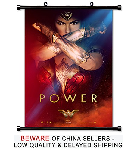 Wonder Woman Gal Gadot 2017 Movie Fabric Wall Scroll Poster (16x24) Inches