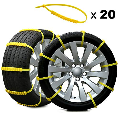Rupse 20pcs Car Winter Snow Chains for Car SUV Truck Emergency Anti-slip...