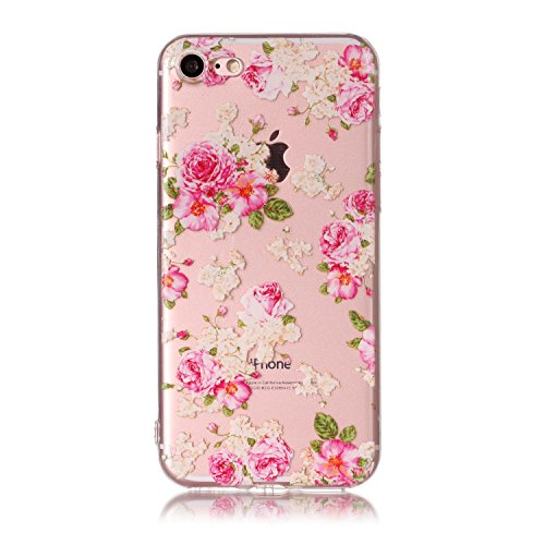 iPhone 8 Hülle , Leiai Modisch Chinesische Rose TPU Transparent Clear Weich Tasche Schutzhülle Silikon Handyhülle Stoßdämpfende Schale Fall Case Shell für Apple iPhone 8