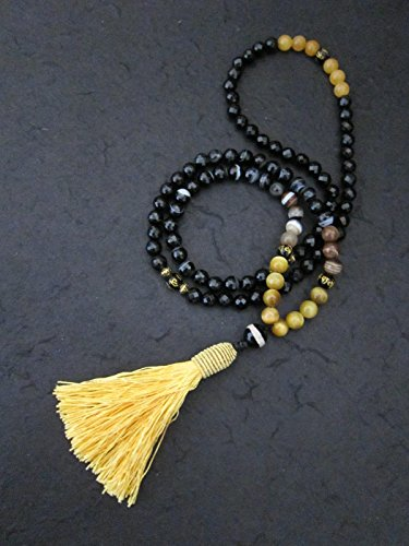 Faceted Mix Agates, Cat Eye, Yellow Citrine, Tibetan Guru Agate Beaded Necklace; Long Mala Yoga Necklace; Trending Items; Root Chakra Mala Necklace (Citrine Cats)