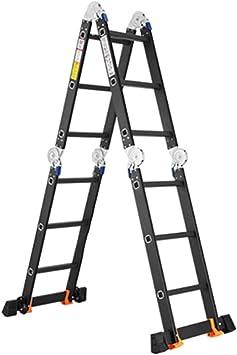 LHF Escaleras telescópicas, Escalera telescópica plegable de aluminio, Escalera de extensión profesional multiusos de alta resistencia para limpieza de loft/canalones/Bricolaje, Negro,3,6 m / 11.: Amazon.es: Bricolaje y herramientas