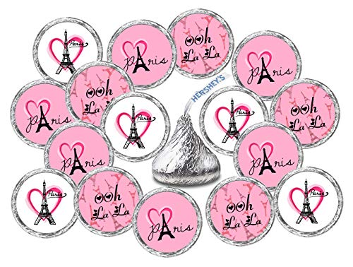 - 324 Paris Kisses Stickers Labels, Eiffel Tower Pink Kisses Stickers for Birthday Party, Wedding, Baby Shower, Pink Paris Themed Hershey's Kisses Party Favors