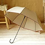 Khaki Women'S Long Handle Sun Umbrella Dot Printed Girl Lovely Straight Rain Umbrella