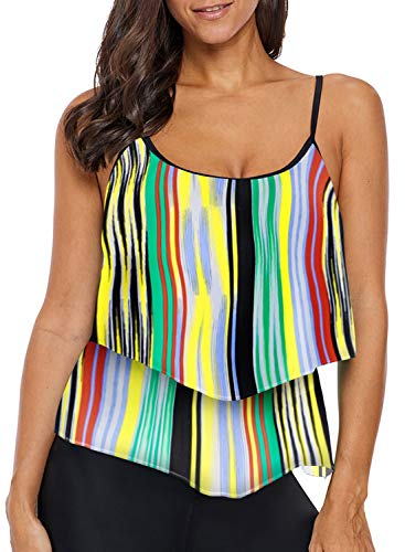 Dearlove Juniors Ruffles Striped Swim Tankini Top Swimsuits for Women Halter Padded Bandeau Tummy Control Swimwear Multicolor ()
