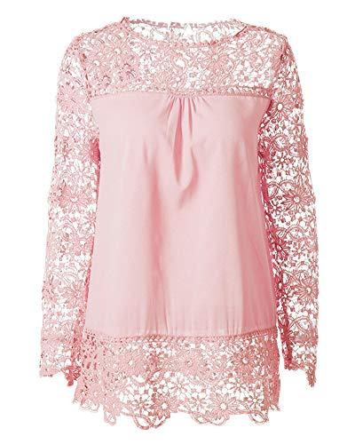 Top Chiffon Blusa con in Manica Pizzo Donna Scollo Camicetta Elegante Maglietta Pink Camicia V pfHn4q7