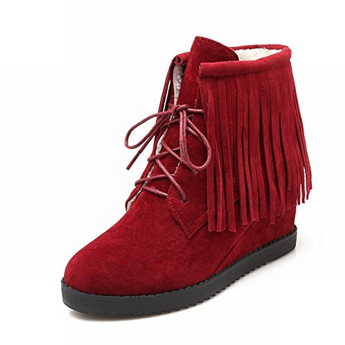 Carolbar Womens Lace Up Kwastjes Fashion Chic Sleehak Korte Jurk Laarzen Diep Rood