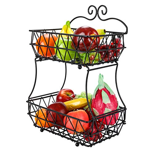 EPG-Life Screwless 2 Tier Fruit Bread Basket Display Stand - Upgrade Version (Holder Fruit Basket)
