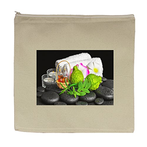 Canvas Zipper Pouch Tote Bag 5.5''X7.5'' Aromatic Spa Set Bergamot Fruits Fresh by Style in Print (Image #1)
