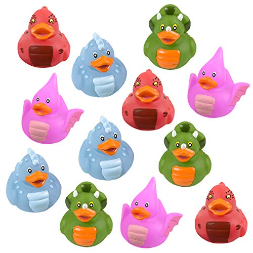 Kicko Dinosaur Rubber Duckies - Pack of 12 Assorted 2