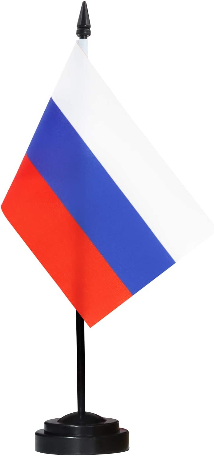 """ANLEY Russia Deluxe Desk Flag Set - 6 x 4 Inch Miniature Russian Desktop Flag with 12"""" Solid Pole - Vivid Color and Fade Resistant - Black Base and Spear Top"""