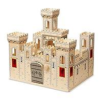 """Melissa y Doug Folding Castle medieval de madera, juego de juegos de imaginación, puente levadizo y torrecillas, construcción robusta, 27 """"de alto x 15.25"""" de ancho x 17.5 """"de largo"""