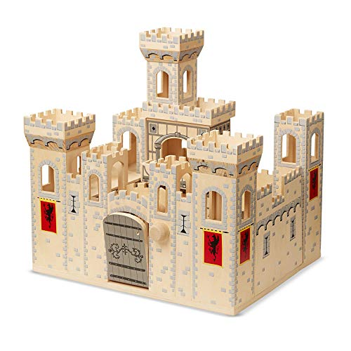 (Melissa & Doug Deluxe Folding Medieval Wooden Castle - Hinged for Compact)