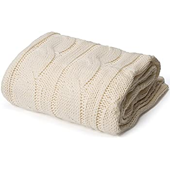 """Battilo Soft Knitted Dual Cable Throw Blanket, 50"""" W x 60"""" L, Cream"""