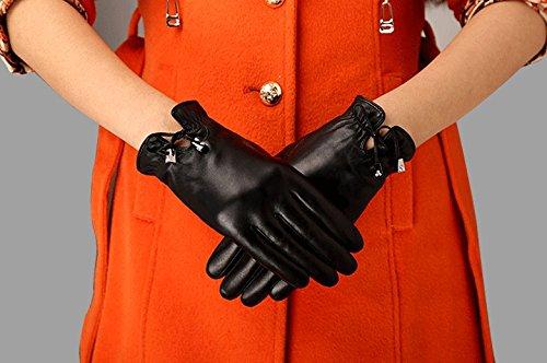 Hohe Qualität neue Ankunfts schön Warme Damen-Winterhandschuhe aus echtem Nappaleder, Mode Handschuhe aus weichem Leder warme Handschuhe in klassisch schlichtem Design Damen Lederhandschuhe im Freien Sporthandschuhe Ski-Handschuhe, Schwarz