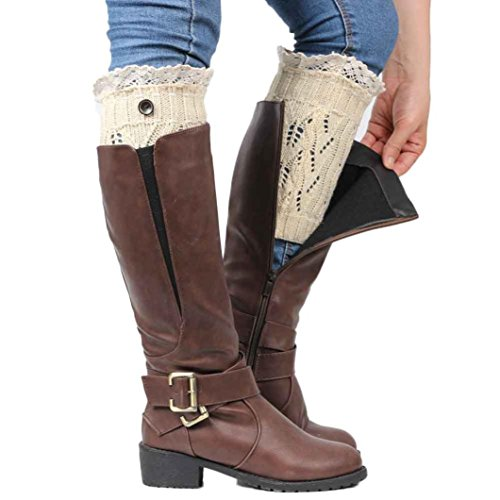 Voberry Women Lace Trim Button Boot Cuffs Toppers Leg Warmers Sock (Beige) Button Trim Boot