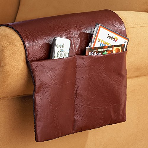 Patchwork Leather Armchair Storage Saver, Brown