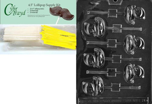 Cybrtrayd 'Small Duck Lolly' Easter Chocolate Candy Mold with Lollipop Supply Bundle, Includes 25 Lollipop Sticks, 25 Cello Bags, 25 Yellow Twist Ties and Instructions