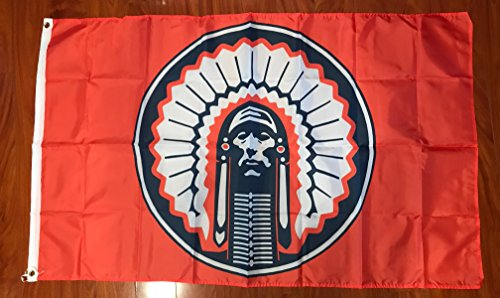 ORANGE Illinois Fighting Illini Chief Flag 3x5 feet NEW grommets - banner Bar Decor Man ()