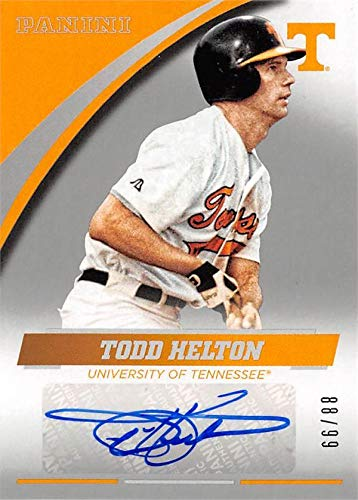 (Todd Helton autographed Baseball Card (Tennessee Volunteers) 2016 Panini Team Collection Sillver #TH-UT LE 88/99)