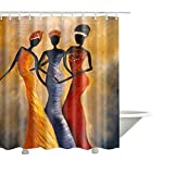 QEES Indian Girls Shower Curtain Art Print Decor Waterproof Anti Mildew Fabric Polyester Bath Curtain Sets with Free Hooks 72'' 72''(YLB04)