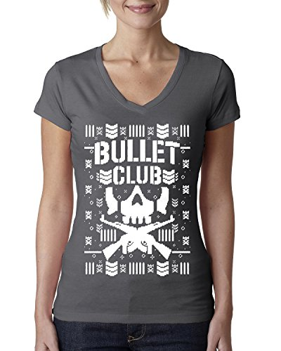 Bullet Club | Wrestling Bone Soldier | Womens Ugly Christmas Junior Fit V-Neck Tee Graphic T-Shirt, Dark Grey, 2XL by Wild Bobby