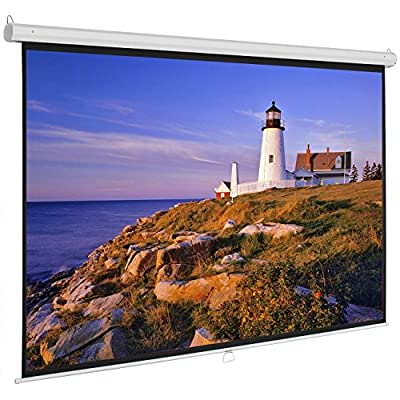 "Onebigoutlet 100""inch 16:9 Manual Projection Screen Projector Matte White Home Movie Theater"