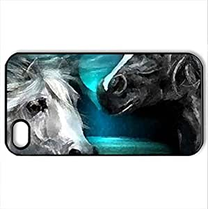 Beautiful Two Horses - Case Cover for iPhone 4 and 4s (Horses Series, Watercolor style, Black)
