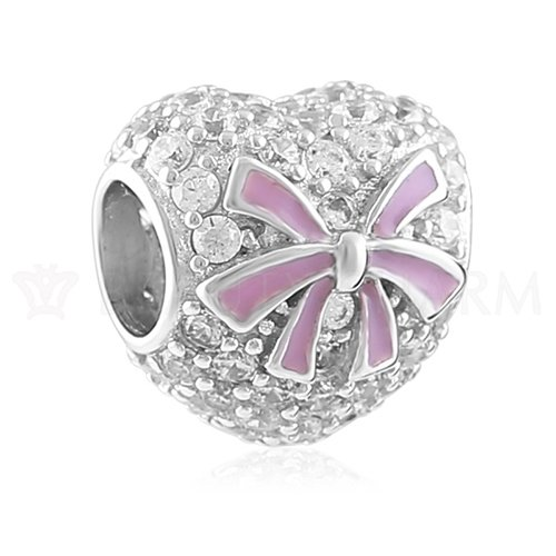 BEAUTY CHARM 925 Sterling Silver Enamel Beads DIY Pink Buttery Charm Jewelry Beads For Pandora Bracelet Chain - Enamel Bead Chain