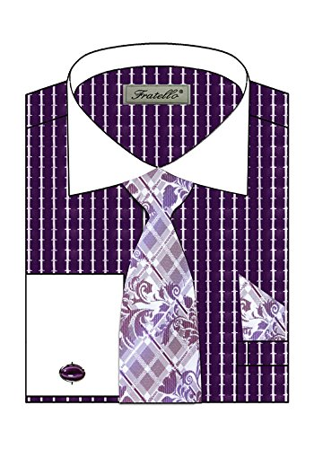 Sunrise Outlet Men's Striped Two Tone French Cuff Shirt Cufflinks - Purple 18.5 34-35 (Shirts Cuff Mens Two French Tone)