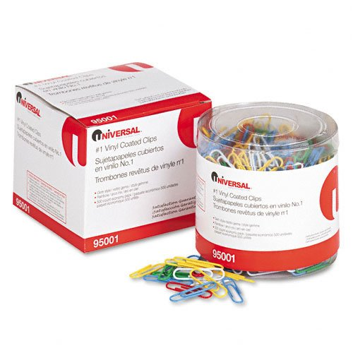 Amazon.com : Universal Paper Clips, Vinyl Coated Wire, No.1-Assorted-500 ct, 2 pk : Office Products