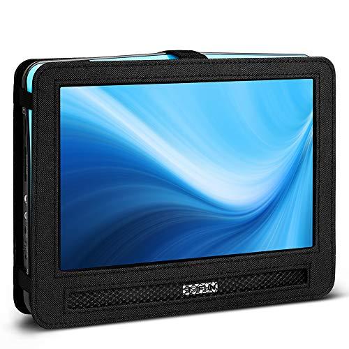(BOIFUN 12.5 inch Car Headrest Mount Holder Backseat Strap Case for Portable DVD Player with Swivel & Flip)