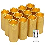 Eldnacele Flameless Flickering Candles with Remote Timer, Gold Coated Textured Battery Operated LED Wax Pillar Candles for Wedding Proposal Party Decoration Set of 12(D2.2'' x H5'')
