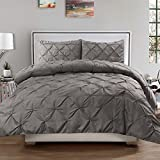 Sweet Home Collection 3 Piece PP Luxury Pinch Pleat Pintuck Fashion Duvet Set, Queen, Gray