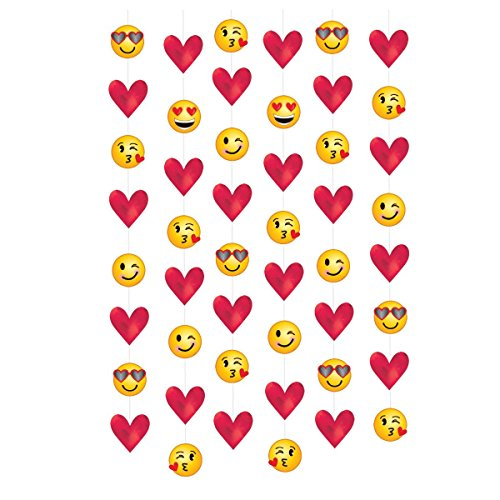 Amscan 670720 Valentine Emoji String Decorations, 7', Multicolor