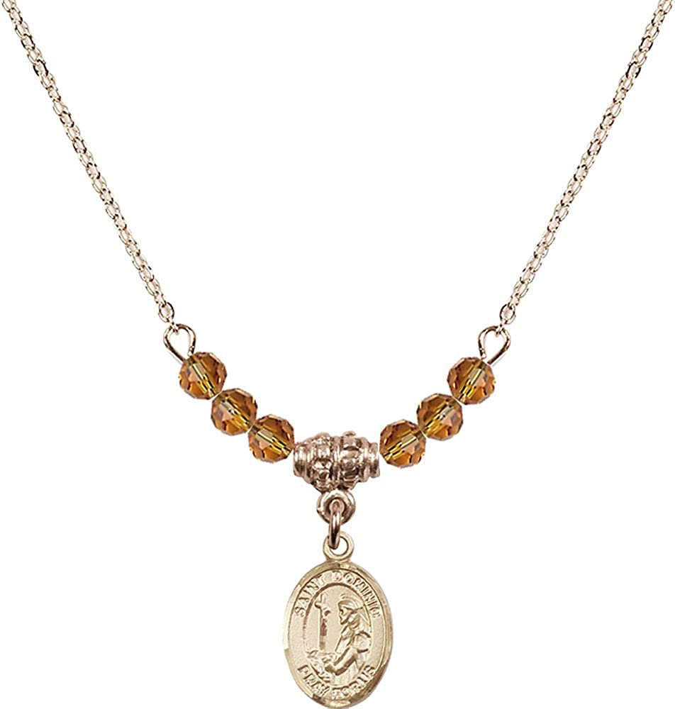 18-Inch Hamilton Gold Plated Necklace with 4mm Topaz Birthstone Beads and Gold Filled Saint Dominic de Guzman Charm.