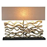 Large Driftwood Vine Sculpture Table Lamp with Course Linen Shade 25-in