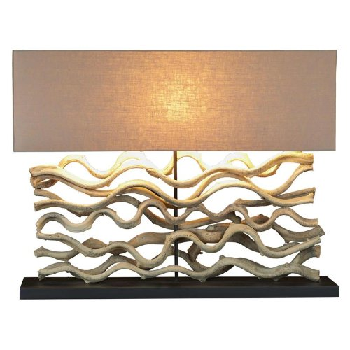 Large Driftwood Vine Sculpture Table Lamp with Course Linen Shade 25-in by Continental Home (Image #2)