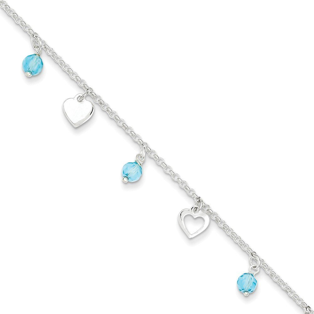 PriceRock Sterling Silver 9 Polished Heart and Blue Glass w/1in ext. Anklet 9 Inches Long