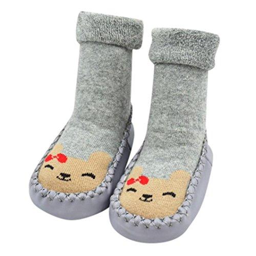 aliveGOT Baby Girls Boys Socks Cotton Kids Anti-Slip Floor Socks Infant Toddler Warm Stockings Slipper Shoes Boots Christmas Birthday NewYear Gift (Gray, 13) for $<!--$1.21-->