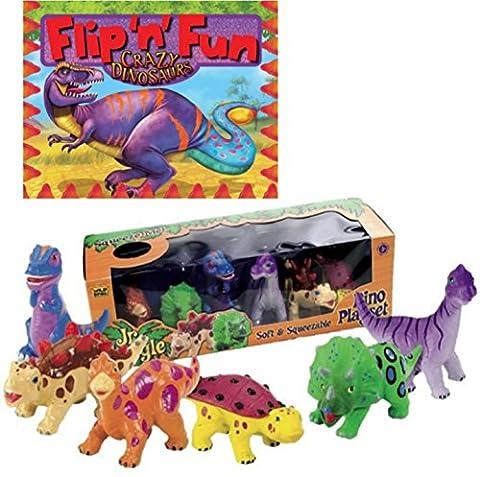 Jr Jungle Wild Republic Dinosaur Toy Set with Bonus Book Flip N Fun Crazy Dinosaurs - Ankylosaurus Dinosaur Toy