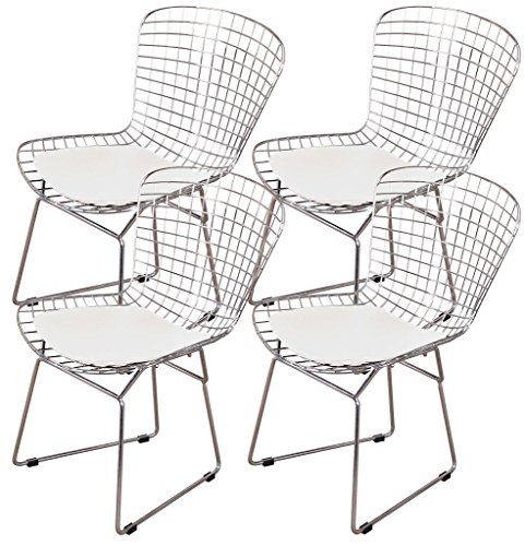 Nicer Furniture TM Set of 4- Harry Bertoia Chromed Steel Wire Frame Side Chairs with Leatherette PU Pad, White ()