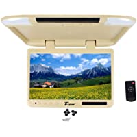 Tview T257IR-TN 25 Beige/Tan Flip Down Wide Screen Ultra Slim TFT Car Monitor With Built In IR Receiver, Dual Dome Lights and Wireless Remote Control