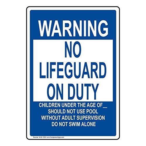 Horizontal Metal Sign Multiple Sizes Pool Warning No Lifeguard Under 14 Adult