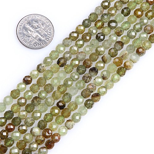 Beads Round Prehnite (Joe Foreman Prehnite Beads for Jewelry Making Natural Gemstone Semi Precious AAA Grade 4mm Round Faceted 15