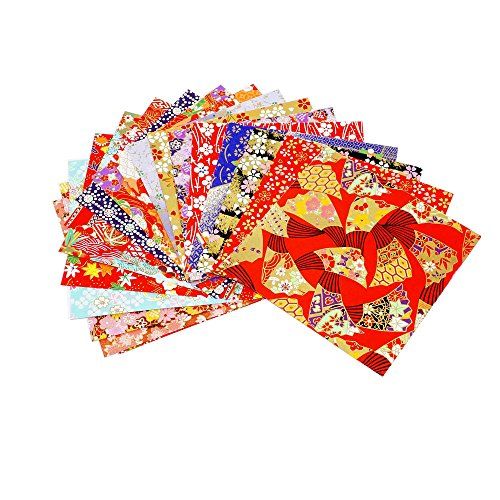 (100 Sheets 14x14cm Mixed Pattern Japanese Yuzen Washi Origami Folding Papers Flower Floral Origami Paper Handmade Materials Folded Paper Craft )