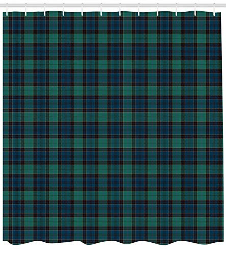 Ambesonne Tartan Shower Curtain, Traditional Quilt Design Scottish Folklore Elements Plaid Pattern, Cloth Fabric Bathroom Decor Set with Hooks, 70 Inches, Dark Green Black Dark Blue