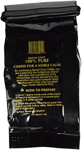 Kopi Luwak 100% Pure Wild & Organic Medium Roast Robusta Whole Civet Coffee Beans - (4 ounces/113 grams) - Roasted in the USA Imported From the Philippines