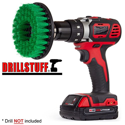 Drill Brush - Cleaning Supplies - Kitchen Accessories - Mold Remover - Grout Cleaner - Cast Iron Skillet - Dish Brush - for Tile, Counter-Tops, Stove, Oven, Sink, Trash Can, Floors - Calcium - Rust
