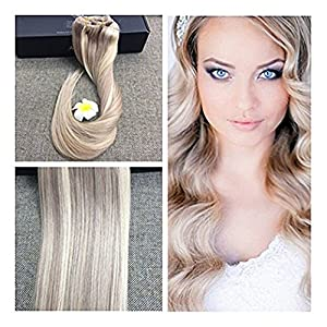 "Full Shine 18"" 9 Pieces Color #18 and #613 Blonde Thick Clip in Remy Hair Extensions Blonde Highlight Striped Straight Hair Clip in Extensions Best Human Hair Extensions for Thin and Short Hair"