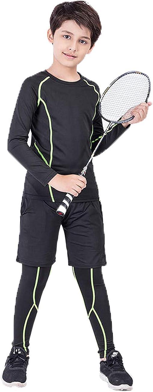 BUYKUD Kids Boys 3PCS Long Sleeve Base Layer Compression Athletic Shirt Tights Top /& Bottom Underwear Sports Set